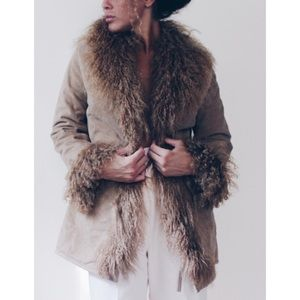 Leather Afghan Jacket/ Mongolian Fur Lined